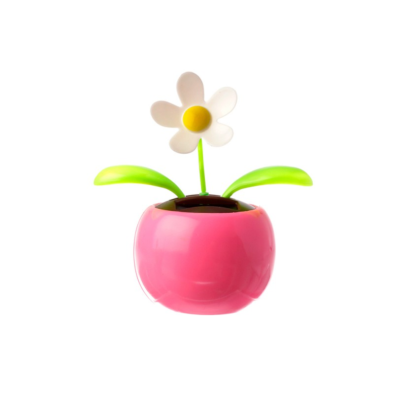 Muestra del adorno de Flor en color blanco, con maceta de color rosa para decorar tu escritorio.