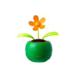 Muestra del adorno de Flor en color naranja, con maceta de color verde para decorar tu escritorio o cualquier otra sitio
